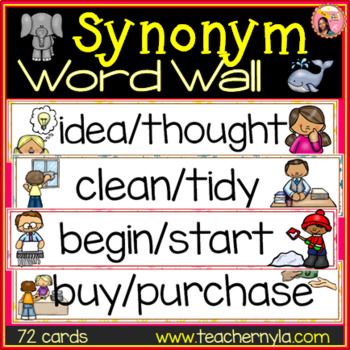 Synonyms Word Wall - Illustrated