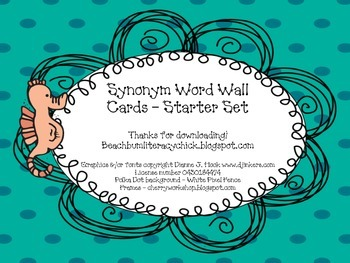 Synonym Word Wall - Ocean Theme