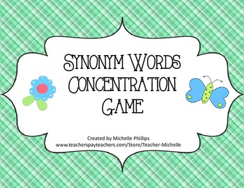 Synonym Words Concentration Game! - Literary Center Game