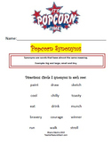 "Synonym Worksheet Unit: ""Popcorn"" Theme"