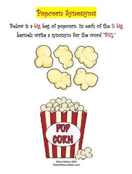 """Synonym Worksheet Unit: """"Popcorn"""" Theme"""