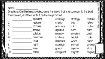 Synonym Worksheets and Task Cards - Grades 4-6