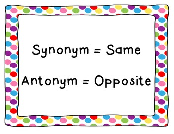 Synonym and Antonym Anchor Chart