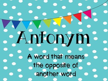 Synonym and Antonym Anchor Charts