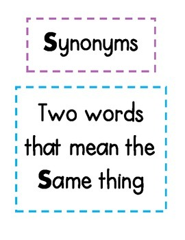 Synonym and Antonym Anchor Charts & Matching Game