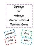 Synonym and Antonym Anchor Charts & Matching Game