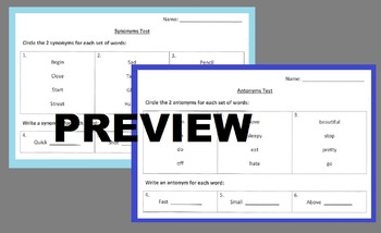 Synonym and Antonym Assessments Tests Exit Ticket Worksheet Activity