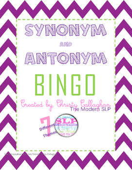 Synonym and Antonym BINGO