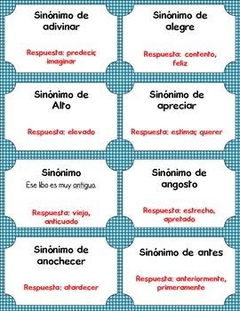 Synonym and Antonym Bingo in Spanish