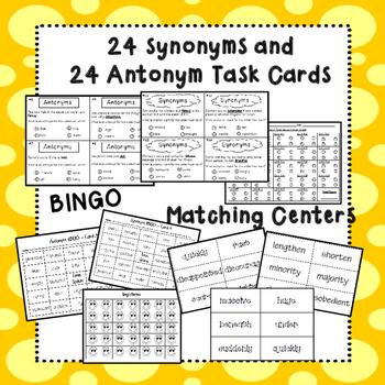 Synonyms and Antonyms Bundle (Task cards, matching games & BING0)