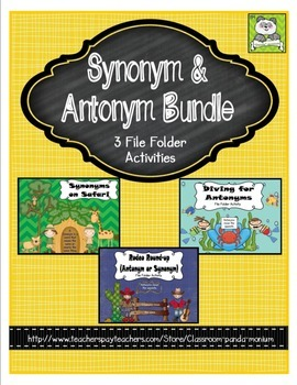 Synonym and Antonym Bundle File Folder Activities (CC Aligned)