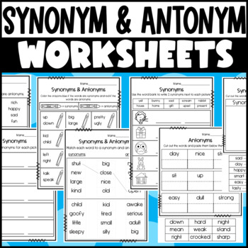 Synonym and Antonym Center Activities and Worksheets