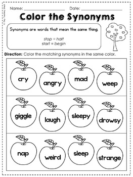 Synonym and Antonym Common Core Practice Sheets L.1.4