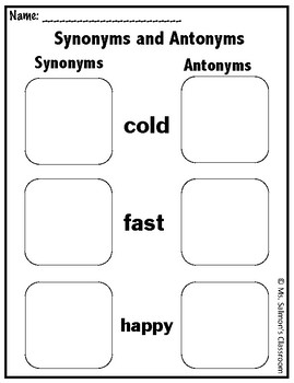 Synonym and Antonym Comparing Worksheet