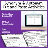 Synonym and Antonym Cut and Paste Activity plus TPT Easel