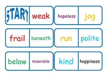 Synonym and Antonym Dominoes - Workstation Game or Small G