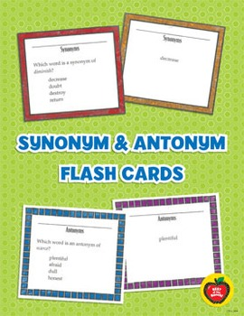 Synonym and Antonym Flash Cards