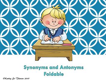 Synonym and Antonym Foldable