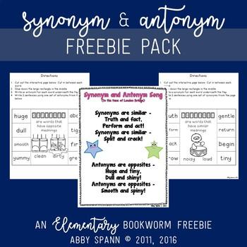 Synonym and Antonym Freebie Pack