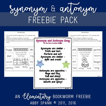 Synonym and Antonym Freebie Pack
