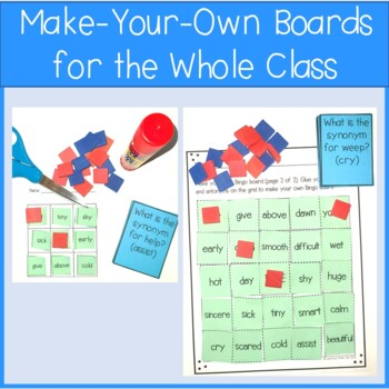 Synonym And Antonym Game - Bingo Set #1 By Learning Under Sail | TpT