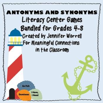 Synonym and Antonym Literacy Center Game Bundle for Grades 4-8