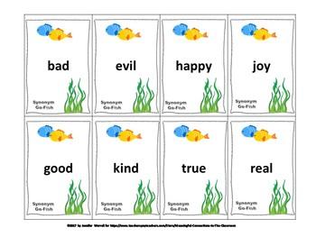 Synonym and Antonym Literacy Center Games for Grades K-3