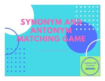 Synonym and Antonym Matching Game