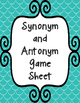 Synonym and Antonym Memory Game