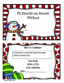 Synonym and Antonym Mini-Book ( Christmas themed)