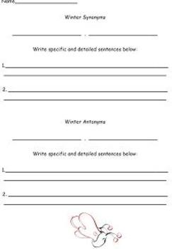 Synonym and Antonym Mitten Winter Craftivity