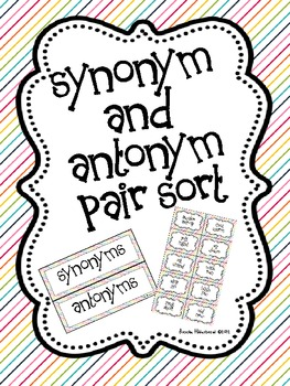 synonym and antonym pair sort by once upon a learning adventure