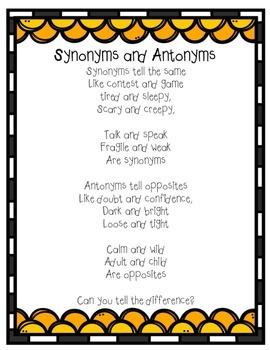 Synonym and Antonym Poem and Worksheet