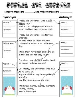 Synonym and Antonym Practice- Frosty the Snowman