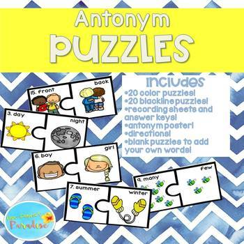 Synonym and Antonym Puzzles, Synonym and Antonym Activities and Posters