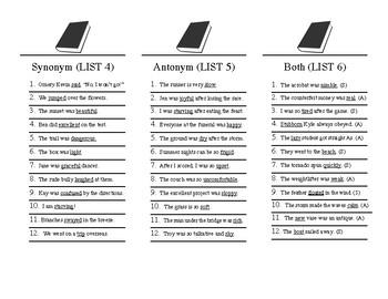Synonym and Antonym Scattergories
