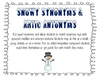 Synonym and Antonym Snowman Matching