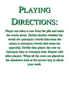 Synonym and Antonym Sort File Folder Game