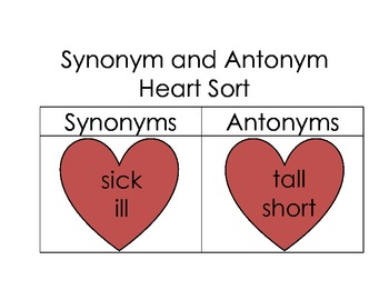 Synonym and Antonym Sort Valentine's Day Hearts