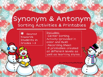 Synonym and Antonym Sorting Activities & Printables-Winter