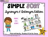 Synonym and Antonym Sorting Cards