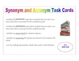 Synonym and Antonym Task Cards