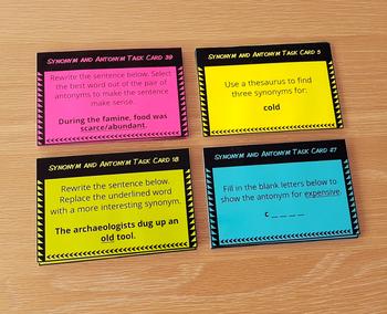 Synonym and Antonym Task Cards