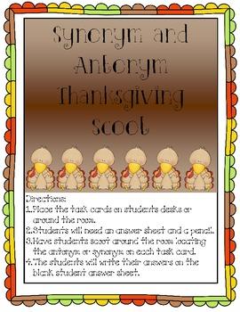 Synonym and Antonym Thanksgiving Scoot