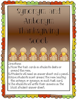 Synonym and Antonym Thanksgiving Scoot