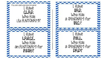 Synonym and Antonym Who Has, I Have Game #springdollardeals