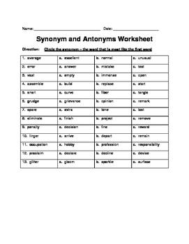Synonym and Antonym Worksheet