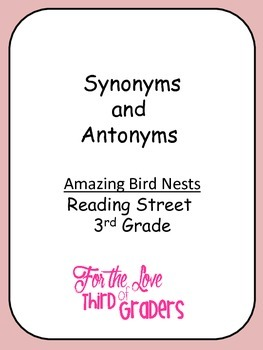 Synonym and Antonyms Amazing Bird Nest Unit 2 Reading Street 3rd Grade