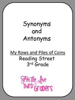 Synonym and Antonyms My Rows and Piles of Coins with Vocabulary Words