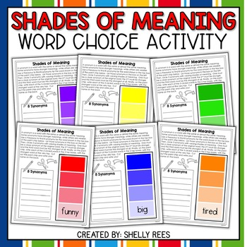 Synonym and Word Choice Paint Chip Packet: Shades of Meaning
